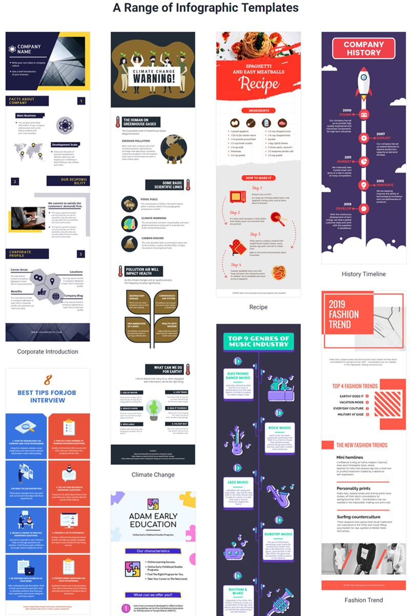 A Range of Infographic Templates in DesignCap