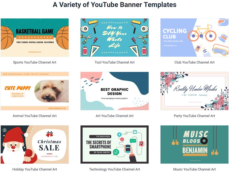 A Variety of YouTube Banner Templates