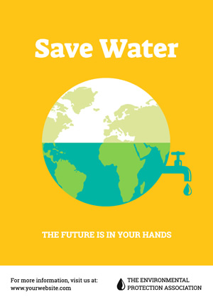 Yellow Earth Save Water Poster Poster Design
