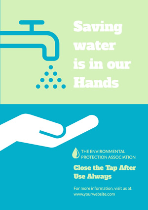 Simple Blue Save Water Poster Poster Design