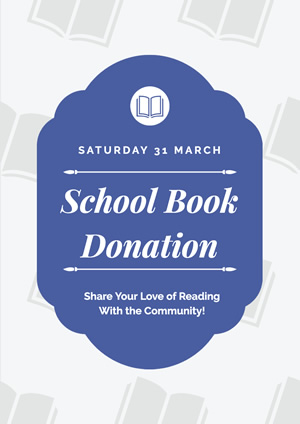 Blue and White School Book Donation Poster design