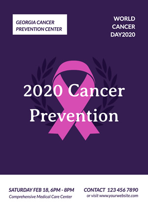 Purple Cancer Prevention Poster Design