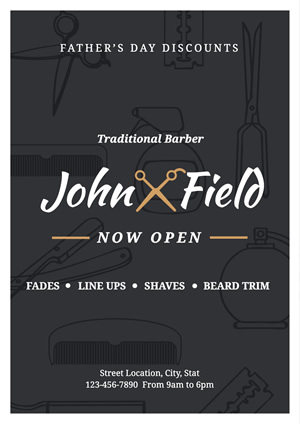 Simple Barbershop Promotional Poster Poster Design