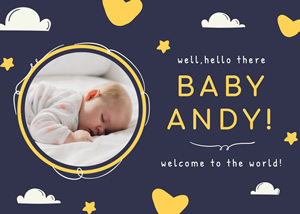 Babyboy Birth Announcement Card Design