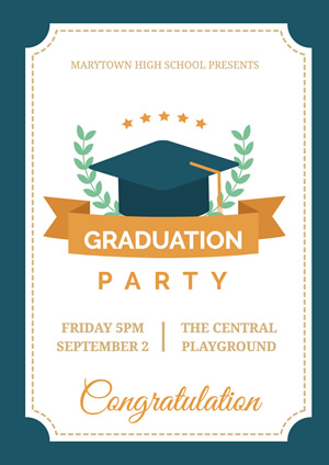 Blue and White Graduation Party Poster Poster Design