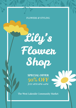 Life Flower Shop Flyer Design