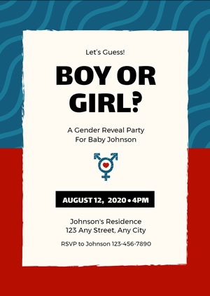 Baby Gender Reveal Invitation Design