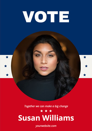 Blue and Red Woman Photo Vote Poster Design