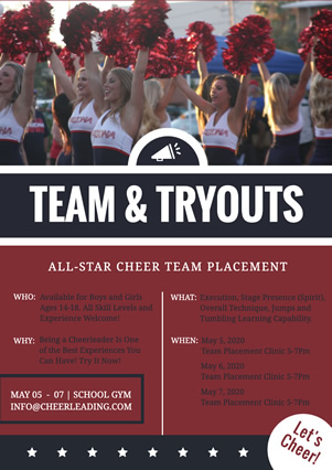 School Cheerleading Team Tryout Flyer Design
