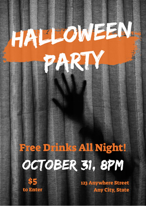 Dark Spooky Halloween Party Poster Design