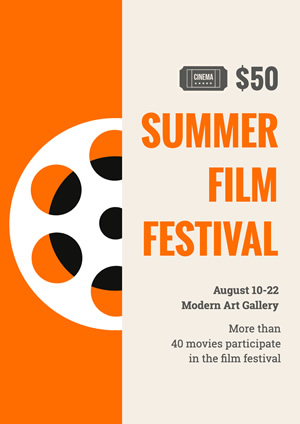 White and Orange Summer Movie Festival Poster Poster Design