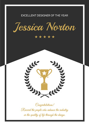 Simple Black and White Award Poster Poster Design