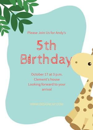 5th Birthday Invitation Design