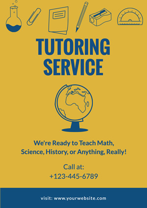 Yellow Tellurion Tutoring Flyer design