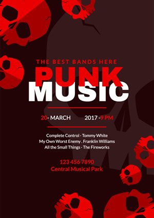 Red Skull Punk Music Poster Design
