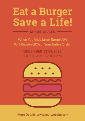 Burger Store Donation Activity Flyer design