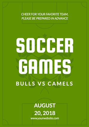 Green Soccer Game Sports Poster Design