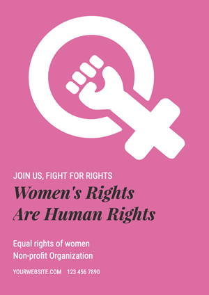Pink Womens Rights Poster Poster Design