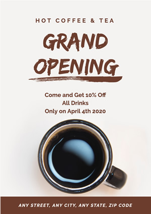 Coffee Shop Grand Opening Poster Poster Design