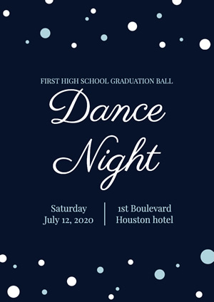 Blue High School Graduation Prom Poster Design
