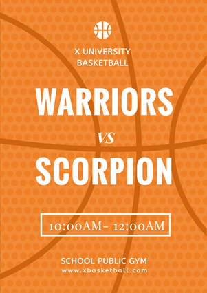 Simple Orange Basketball Match Flyer Flyer Design