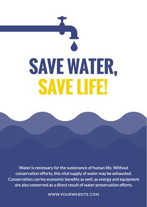 Blue Wave Save Water Poster Poster Design