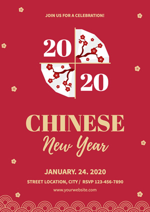 Red Plum Fan Chinese New Year Poster Design