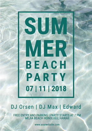 Wavy Summer Beach Party Flyer Design