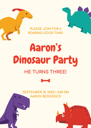 Cute Dinosaur Theme Party Poster Design