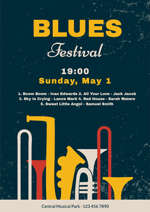 Blues Music Festival Poster Poster Design