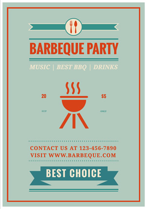 Red Grill Barbeque Party Flyer Flyer Design