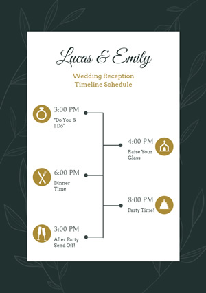 Wedding Reception Timeline Schedule Design