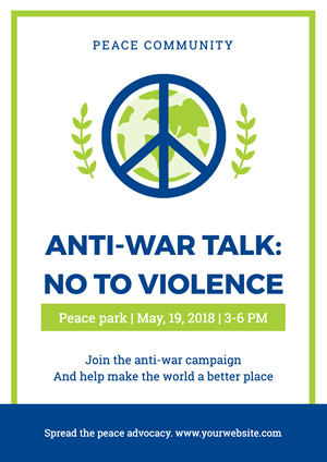 Blue and White Antiwar Poster Poster Design