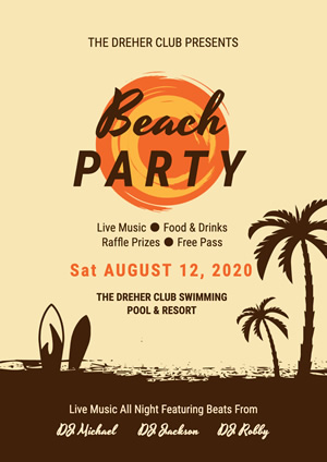 Sun and Coconut Tree Summer Beach Party Poster Design