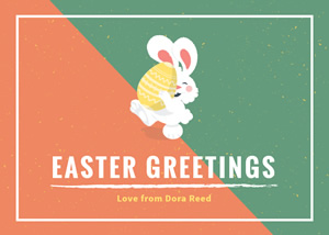 Cute Rabbit Easter Card Design