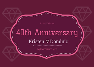 40th Anniversary Card Design