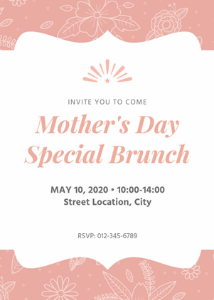 Simple Mothers Day Brunch Invitation Design