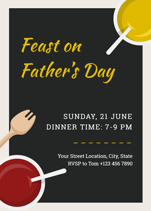 Fancy Fathers Day Dinner Invitation Design