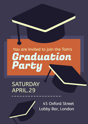 Mortarboard Graduation Party Invitation Design