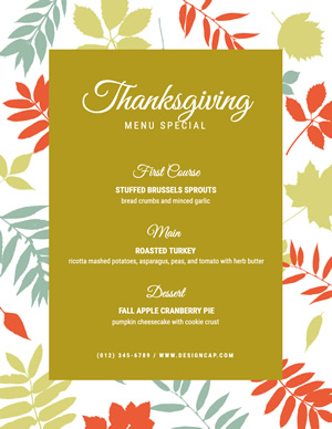 Thanksgiving Dinner Menu Design