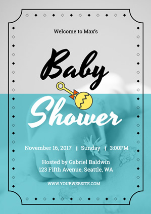 Grey and Blue Baby Shower Poster Design