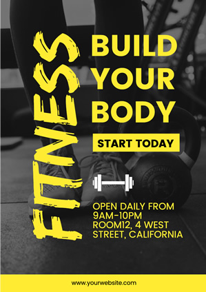 Black and Yellow Fitness Center Poster Poster Design