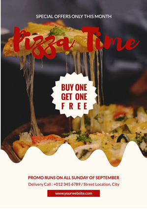 Cheesy Pizza Promotion Poster Design