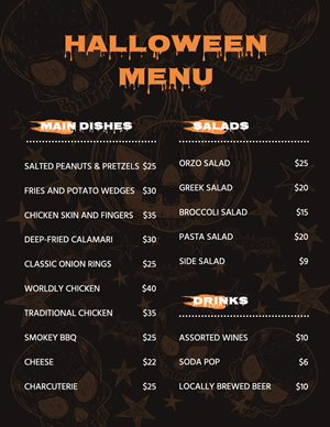 Stylish Halloween Menu Design