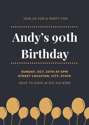 Sensational Free 90Th Birthday Invitation 90Th Birthday Invitation Online Personalised Birthday Cards Paralily Jamesorg