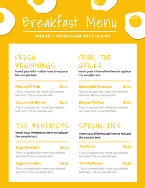 Pancakes Breakfast Menu Design