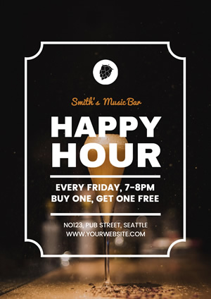 Wine Bar Happy Hour Poster Design