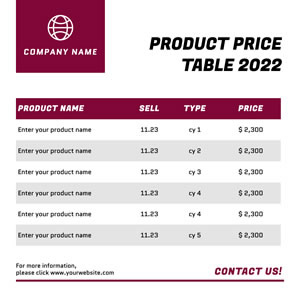 Company Product Price Table Chart Design