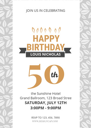 50th Birthday Party Invitation Design