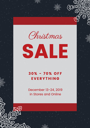 Snowflake Christmas Sale Flyer Design